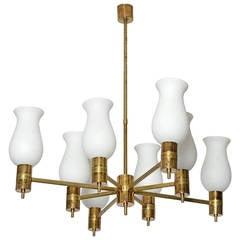 1950s Italian Arredoluce Style Brass Chandelier