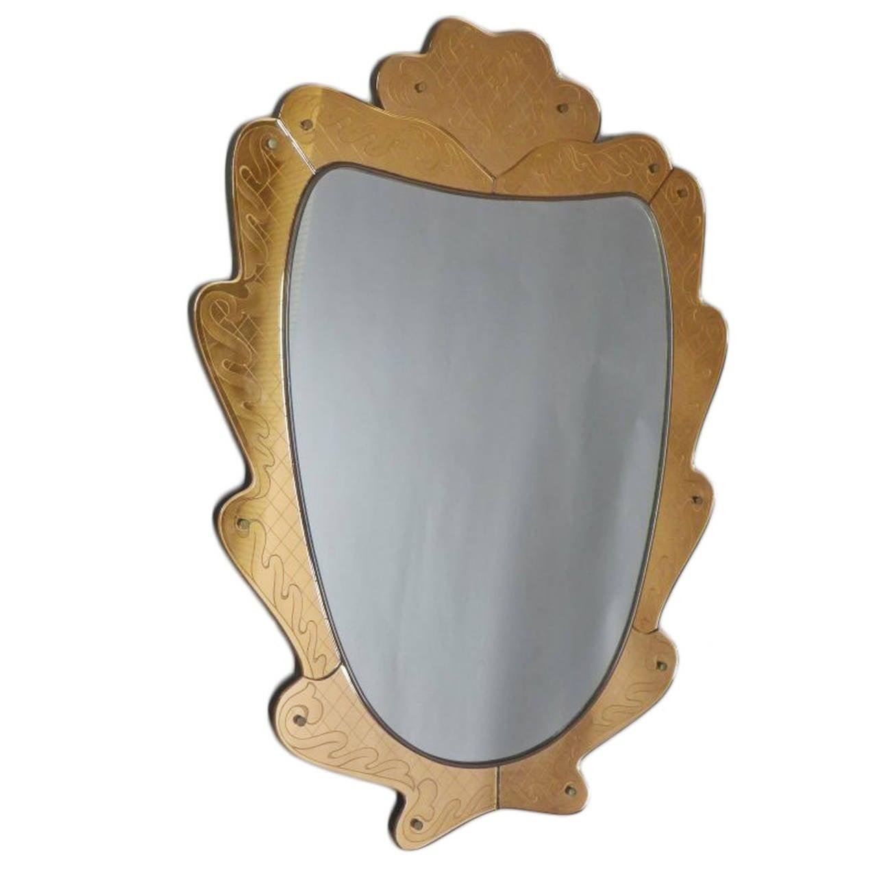 1940s Fontana Arte Etched Glass Mirror