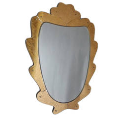 1940s Fontana Arte Etched Glass Mirror