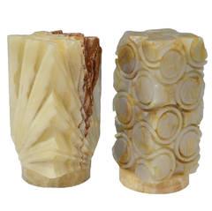 Hand-Carved Onyx Table Lamps