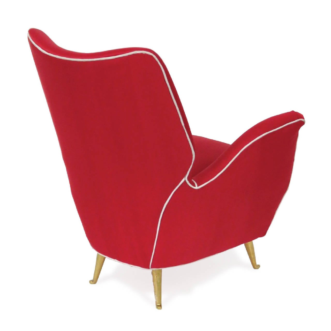 Italian modern armchair with brass legs manufactured by for Isa arredamenti
