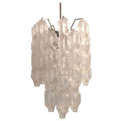 Italian Murano Chandelier with Abstract Sculptural Glass
