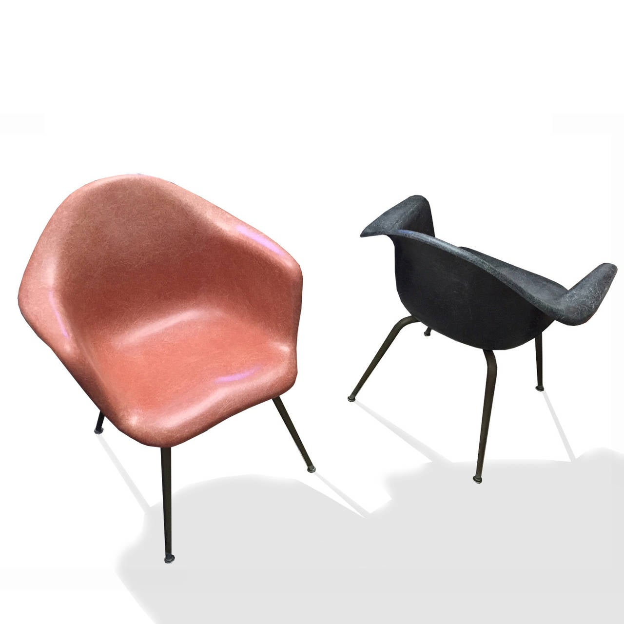fiberglass shell chairs. colorful pair of chromcraft molded fiberglass chairs with brass legs. shell e