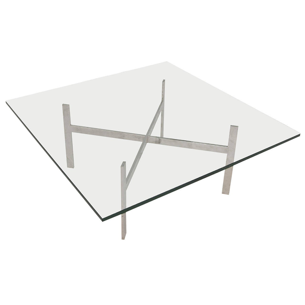 Mid-Century Modern Glass Coffee Table in the Style of Milo Baughman