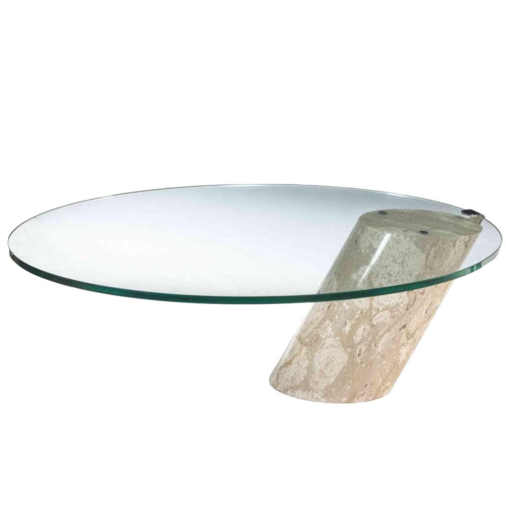 Marble Glass Top Coffee Table: Brueton Style Glass And Marble Coffee Table For Sale At