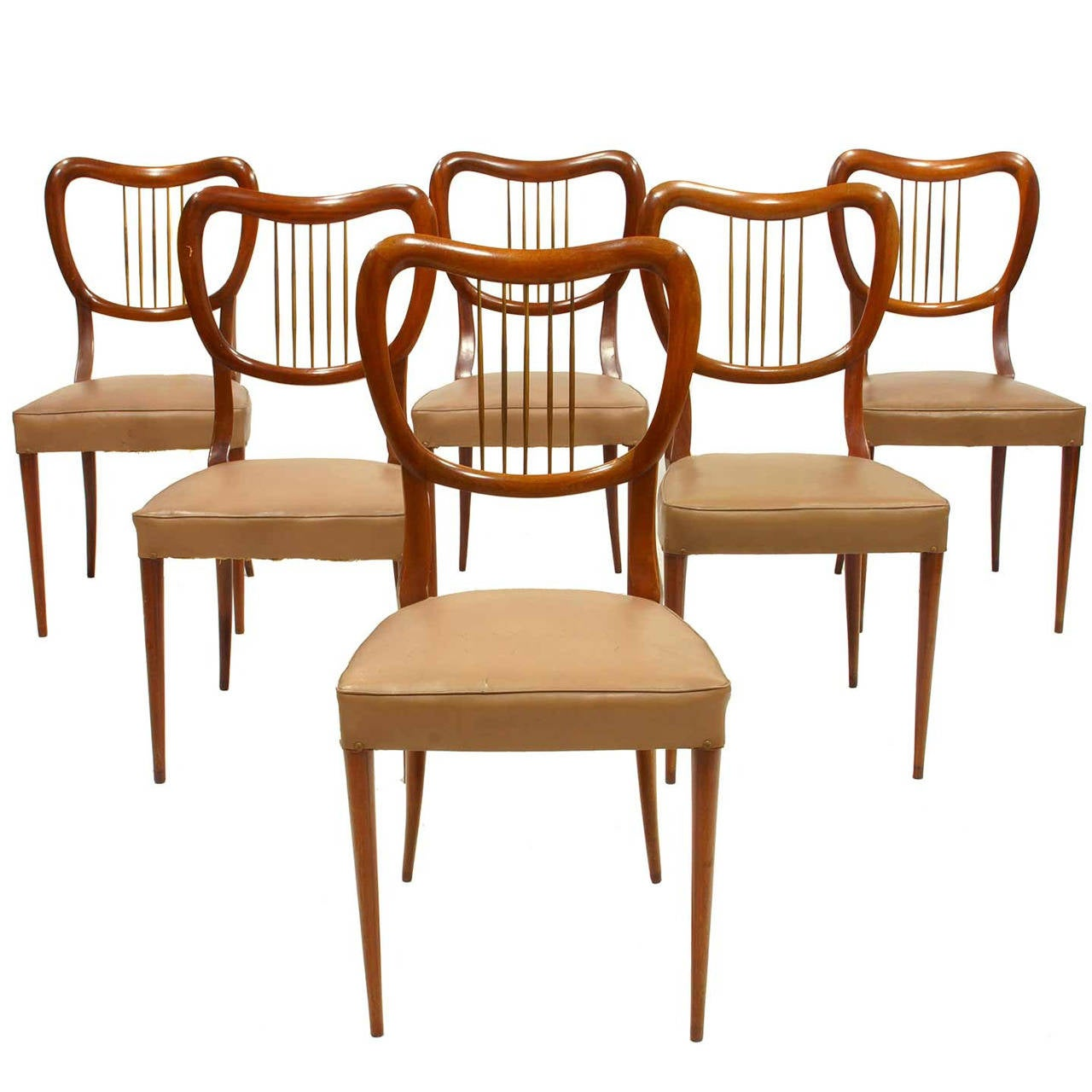 Six Italian Mid-Century Modern 1950s Chairs For Sale