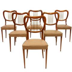 Six Italian Mid-Century Modern 1950s Chairs