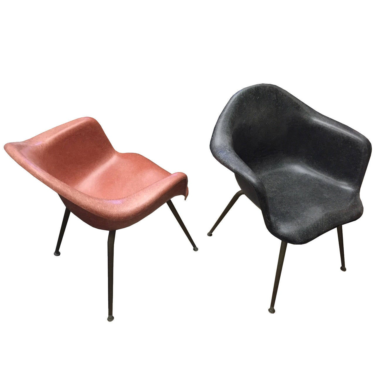Mid Century Vintage Eames Era Fiberglass Shell Arm Chairs By ChromCraft For  Sale