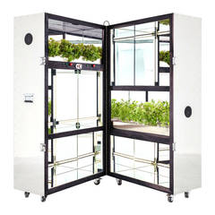Expandable Bag Shelf with Hydraulic Garden in Walnut and Stainless Steel