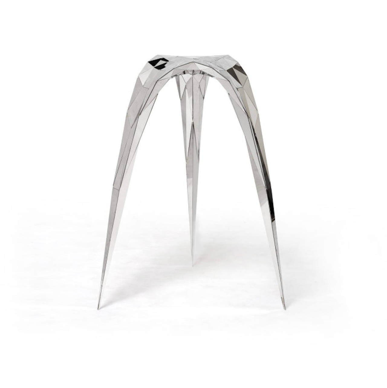 Chinese Polished Stainless Steel Triangle Stool/Side Chair By Zhoujie Zhang  For Sale