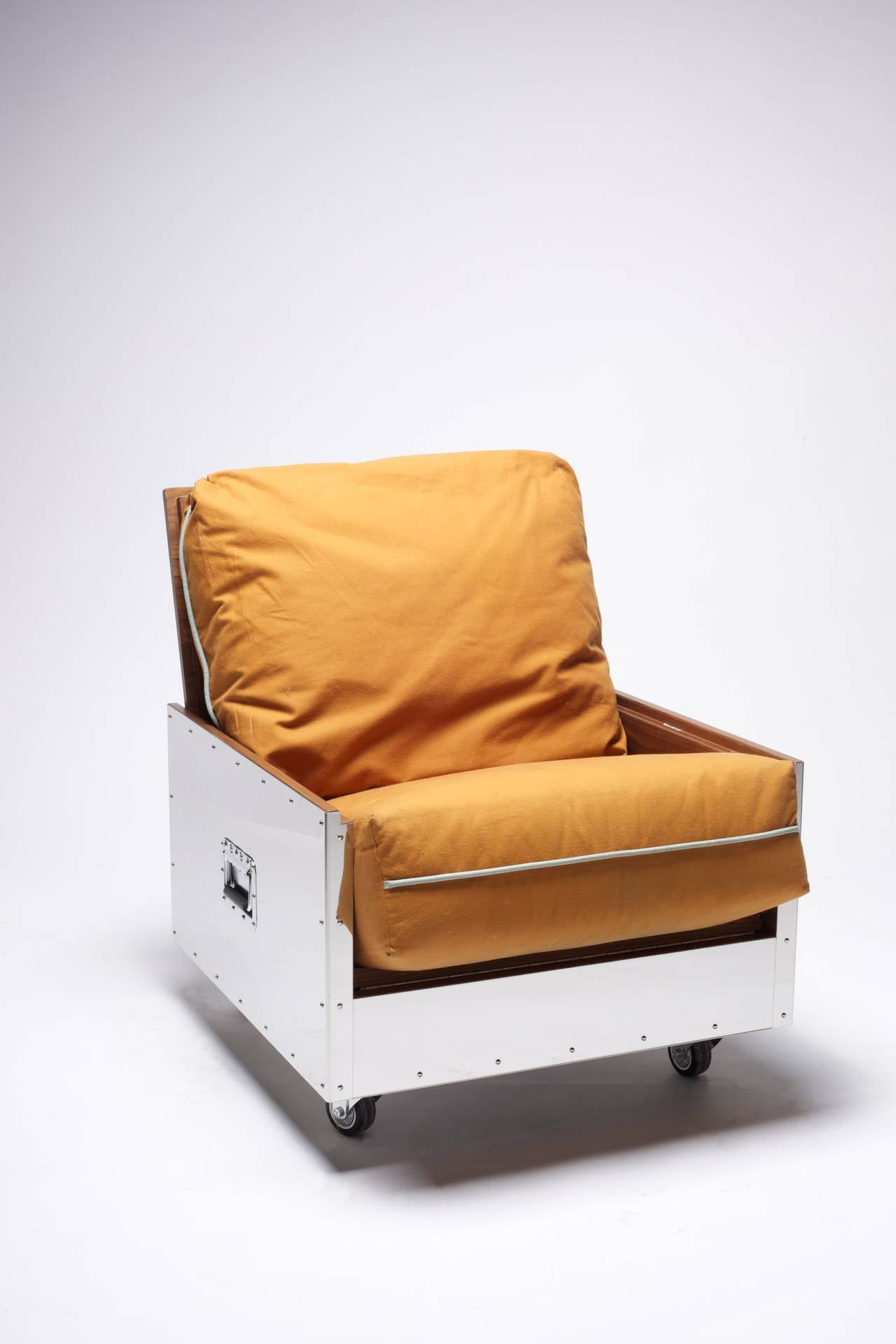 Polished Expandable Sofa Chair Stainless Steel Frame with Cushion Upholstered For Sale