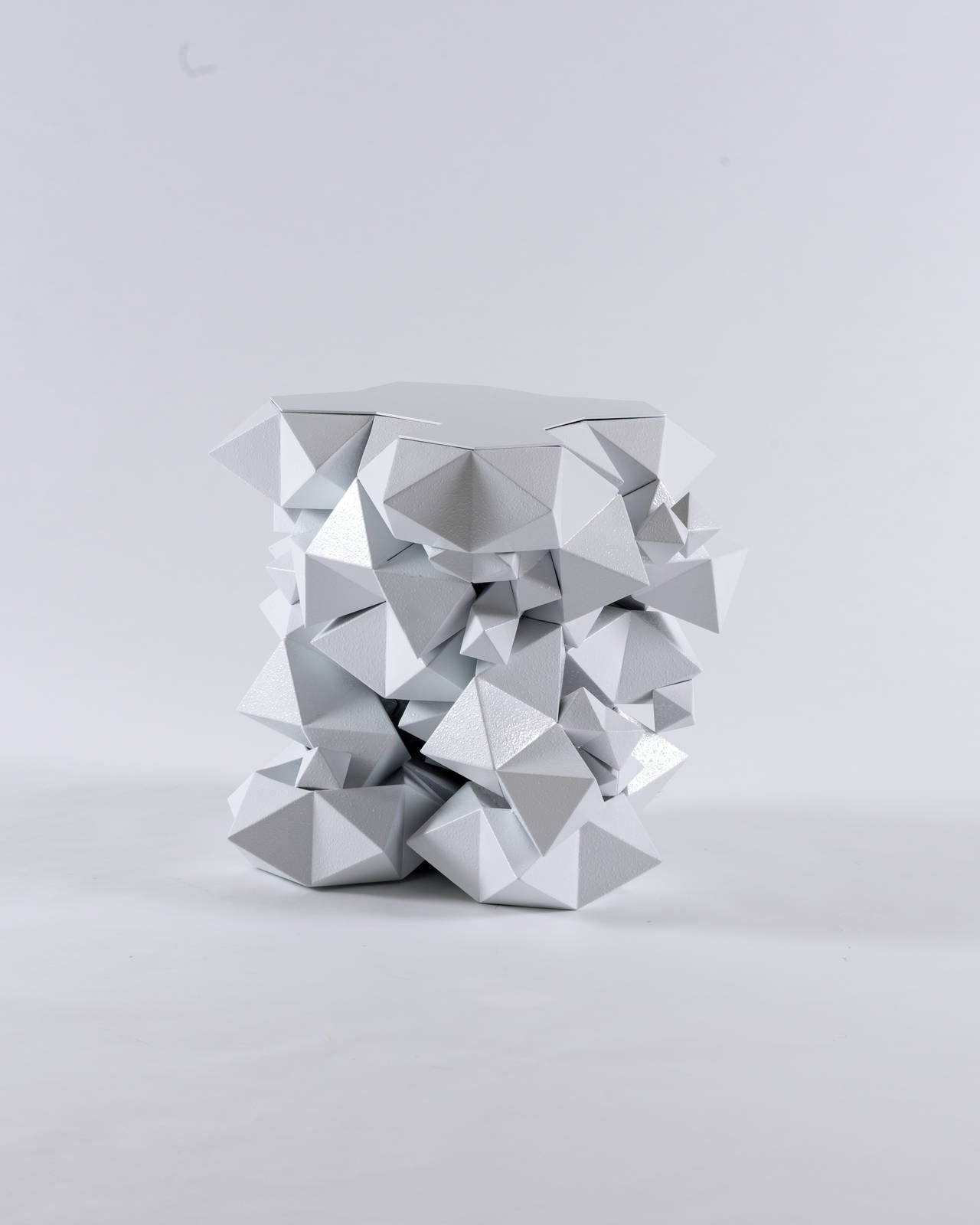 American Geometric Primitives Side Table/End Table in Powder-Coated White Aluminum For Sale
