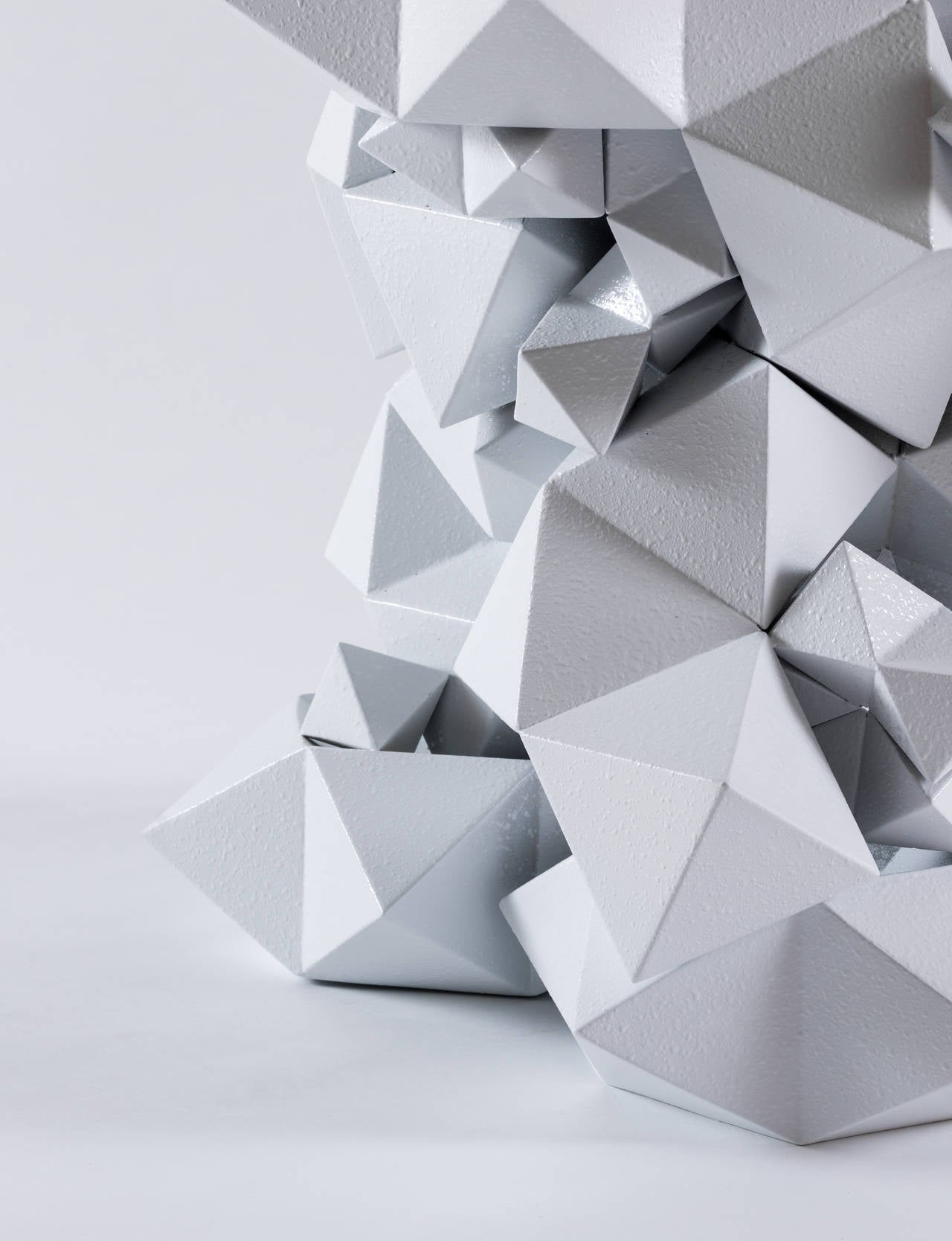 Geometric Primitives Side Table/End Table in Powder-Coated White Aluminum In New Condition For Sale In Beverly Hills, CA