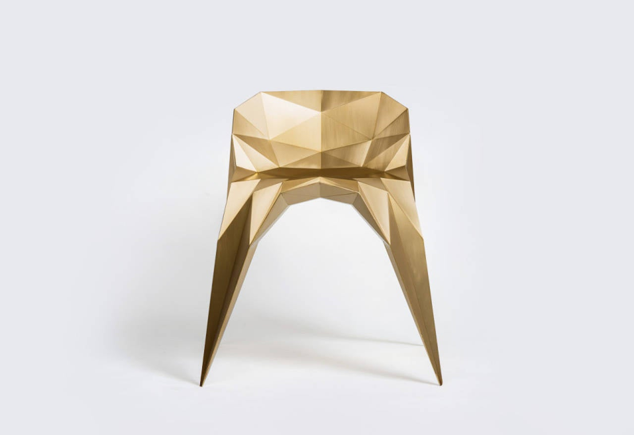 Chinese Brass Spider Chair Unique Dining Chair by Zhoujie Zhang For Sale