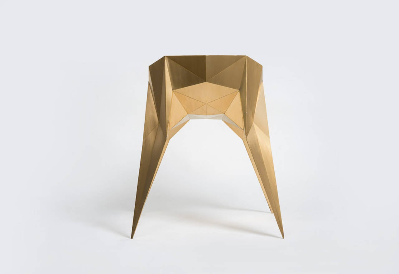 Brushed Brass Spider Chair Unique Dining Chair by Zhoujie Zhang For Sale