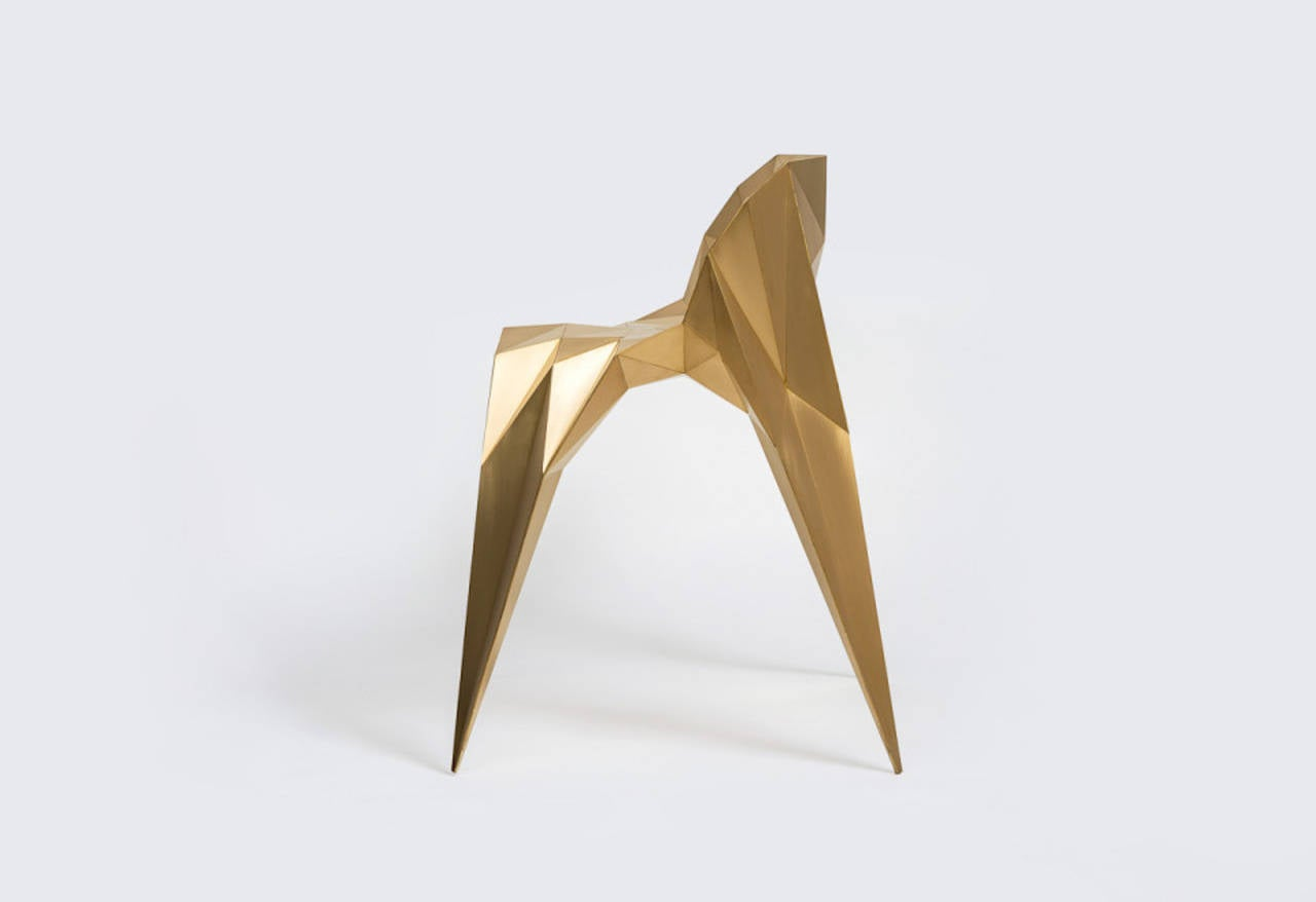 Contemporary Brass Spider Chair Unique Dining Chair by Zhoujie Zhang For Sale