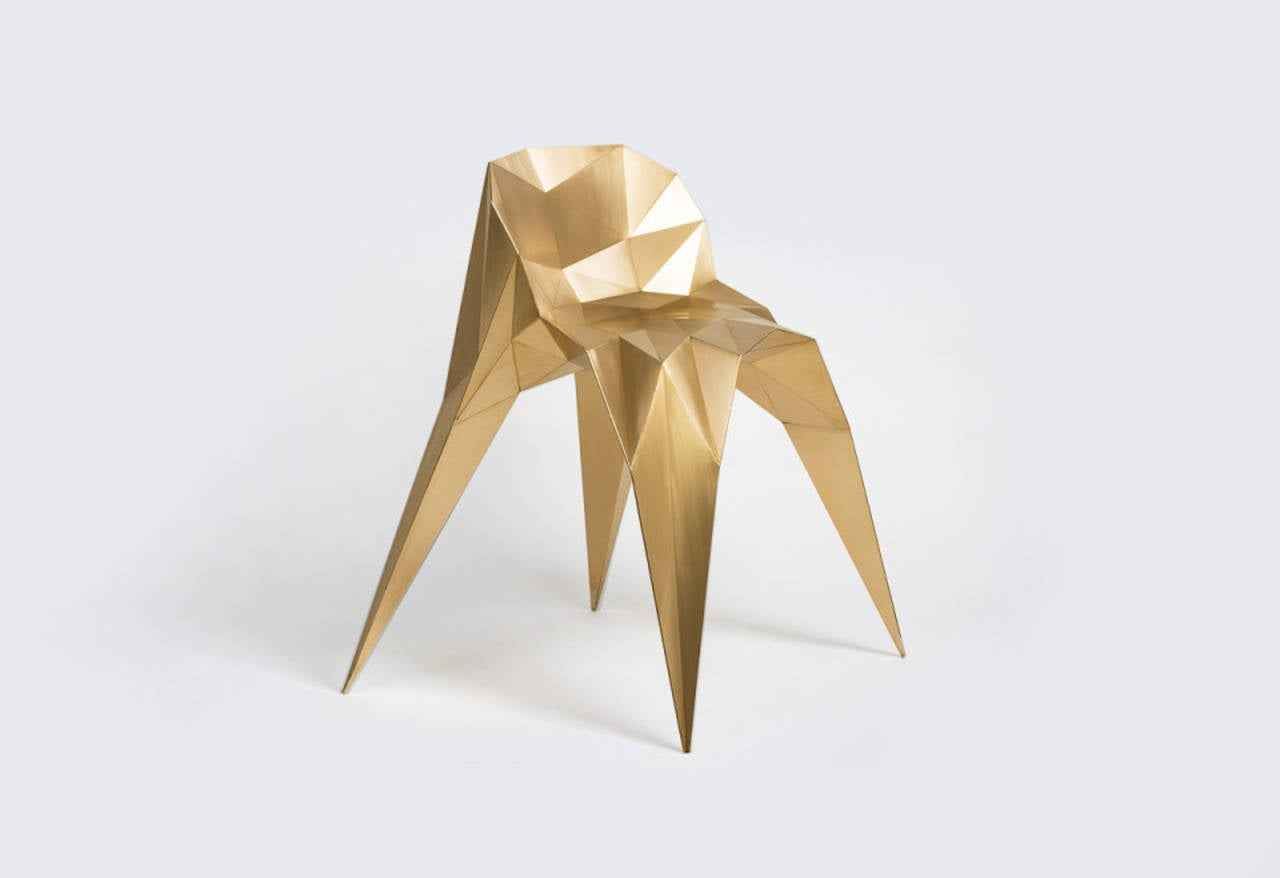 Chairs from the Brass Collection are the second series of objects developed with Endless Forms, Zhoujie's own digitalized fabrication system that generates an ever-changing family of objects. With a role as more of creator rather than designer,