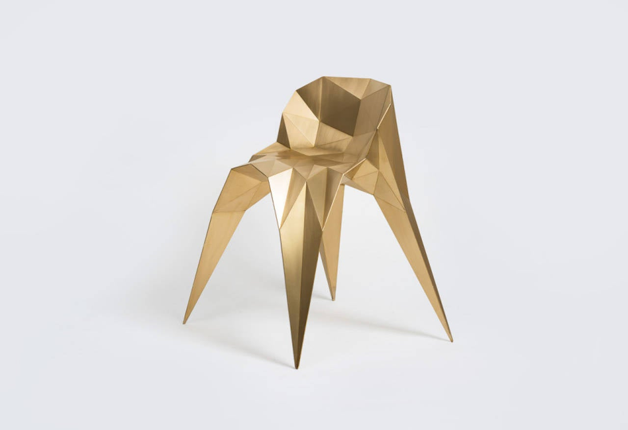 Brass Spider Chair Unique Dining Chair by Zhoujie Zhang For Sale 1