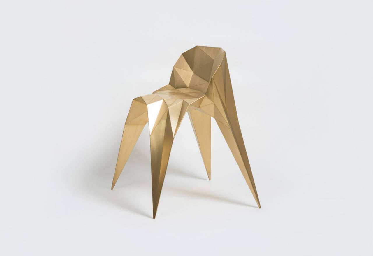 Brass Spider Chair Unique Dining Chair by Zhoujie Zhang For Sale 2