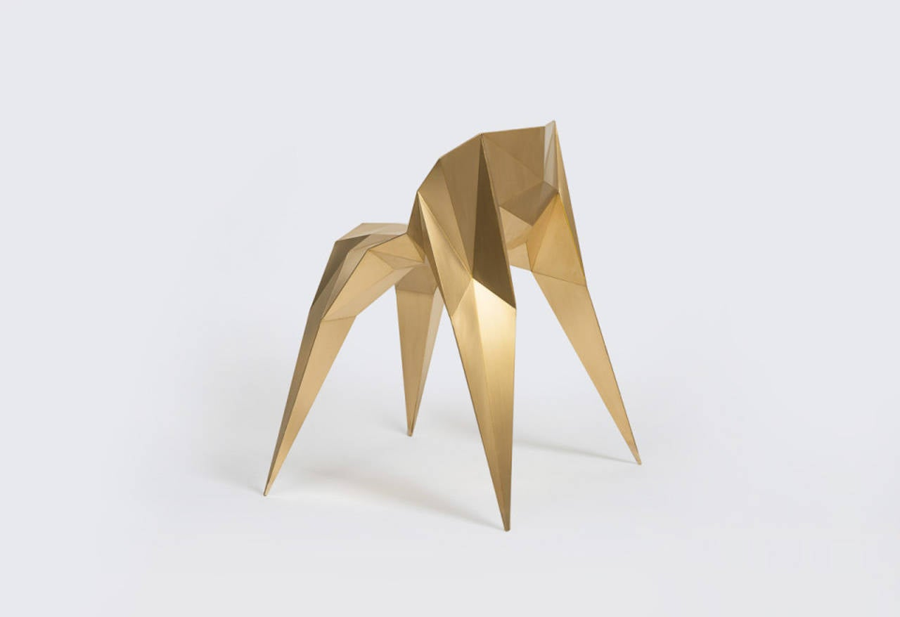 Brass Spider Chair Unique Dining Chair by Zhoujie Zhang For Sale 3