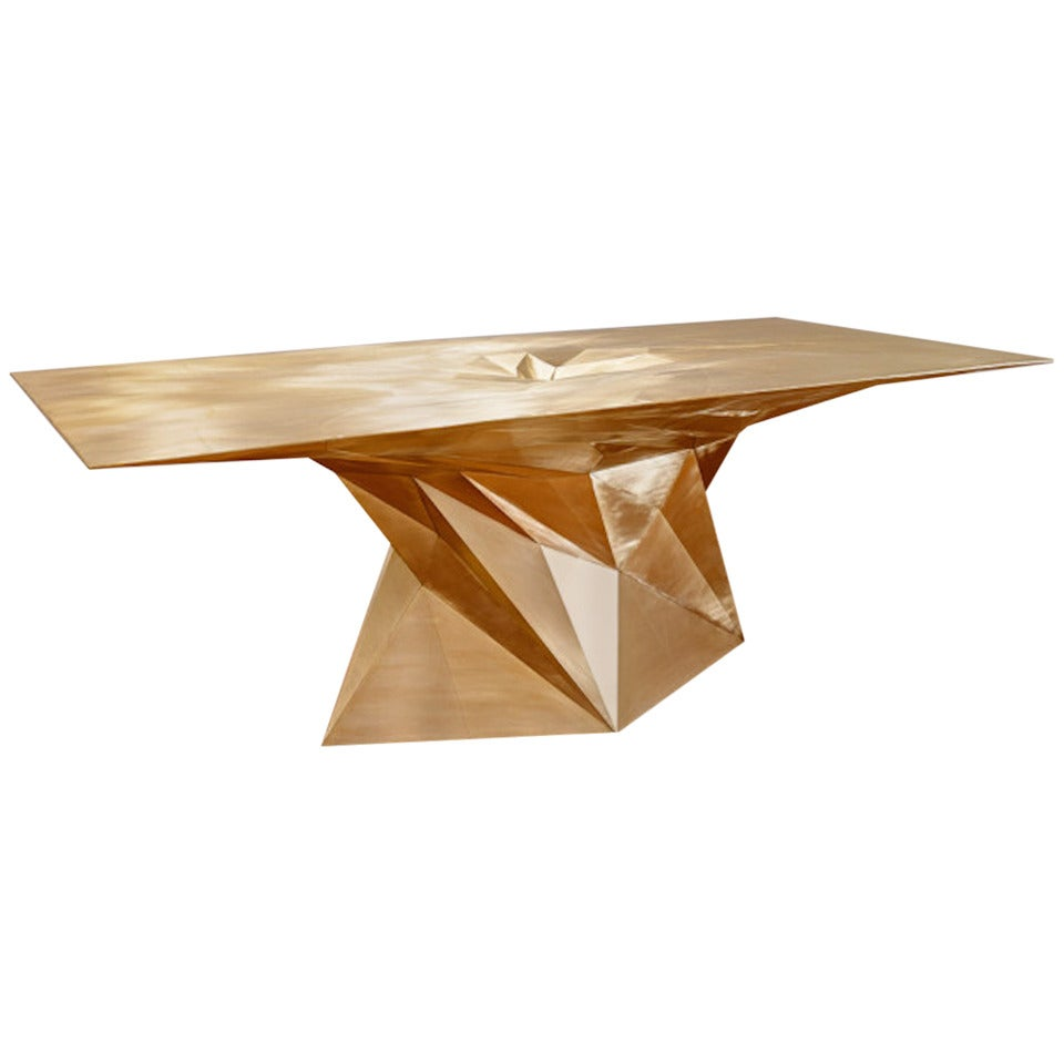 Brass Tornado Square Center Dining Table by Zhoujie Zhang