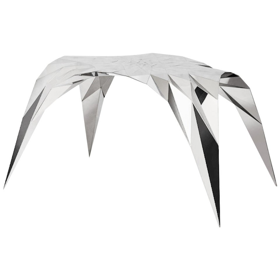 Arch Center Dining Table with Mirror Finish Stainless Steel by Zhoujie Zhang