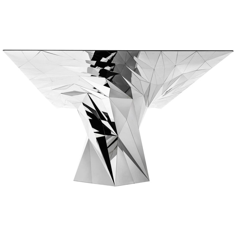 Tornado Square Center Dining Table Mirror Finish Stainless Steel