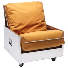 Expandable Sofa Chair Stainless Steel Frame with Cushion Upholstered