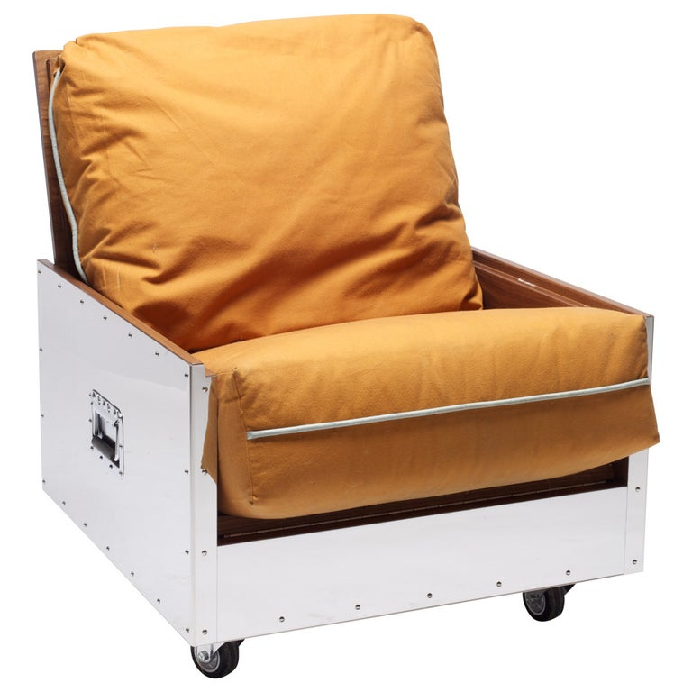 Expandable Sofa Chair Stainless Steel Frame with Cushion Upholstered For Sale