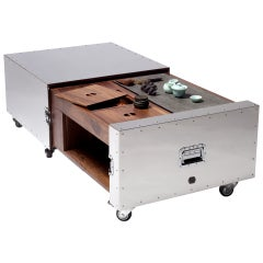 Expandable Tea/Coffee Table from the Crates Stainless Steel Series