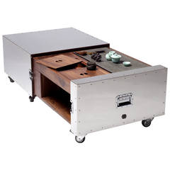 Expandable Tea Table from the Crates Stainless Steel Series