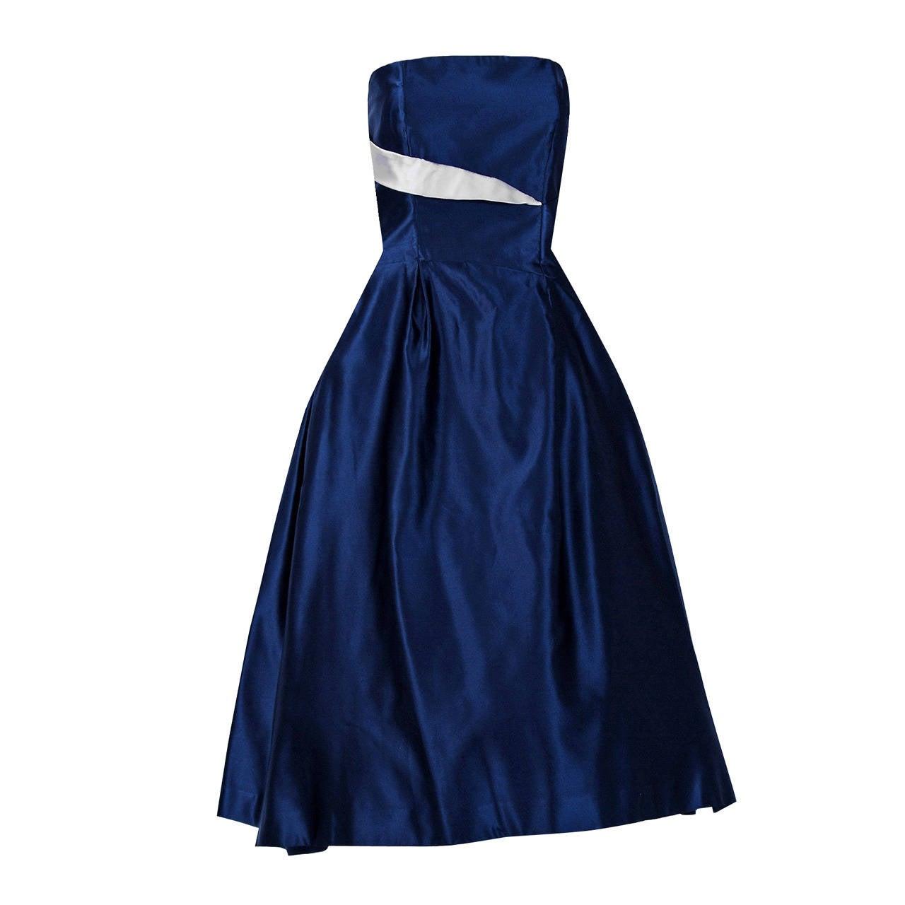 1950's Lanvin Castillo Haute-Couture Navy & Ivory Satin Strapless Dress Ensemble For Sale