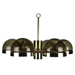 Large 1970s Mod Brass and Smoked Glass Chandelier
