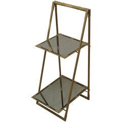 Italian Bronze End Table with Black Mirror Glass