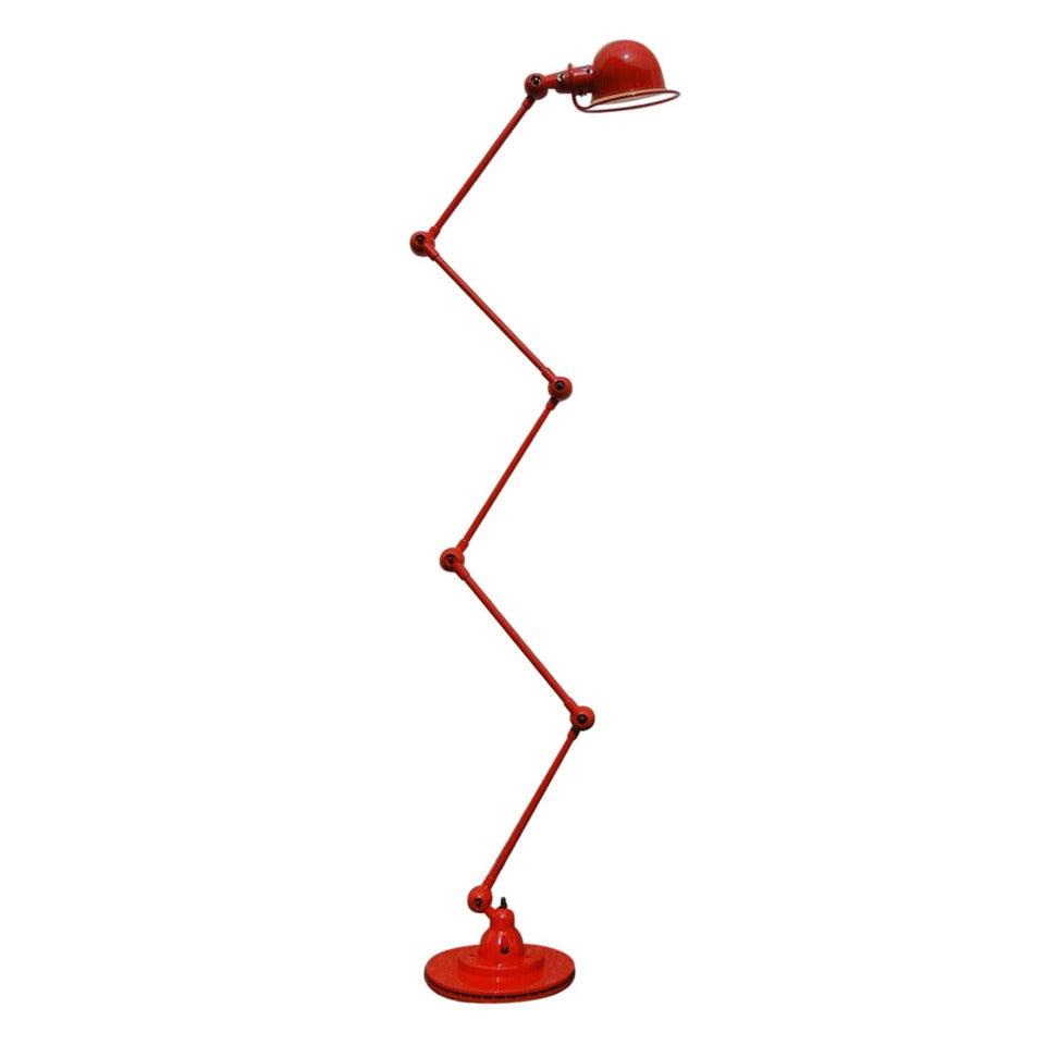 5 armed jielde floor desk reading lamp red at 1stdibs for Red 5 light floor lamp