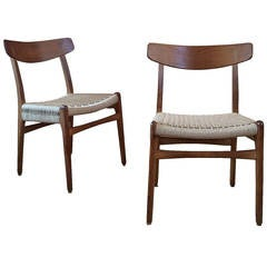 Restored Hans Wegner Chairs in Oak and Paper Cord, 1950