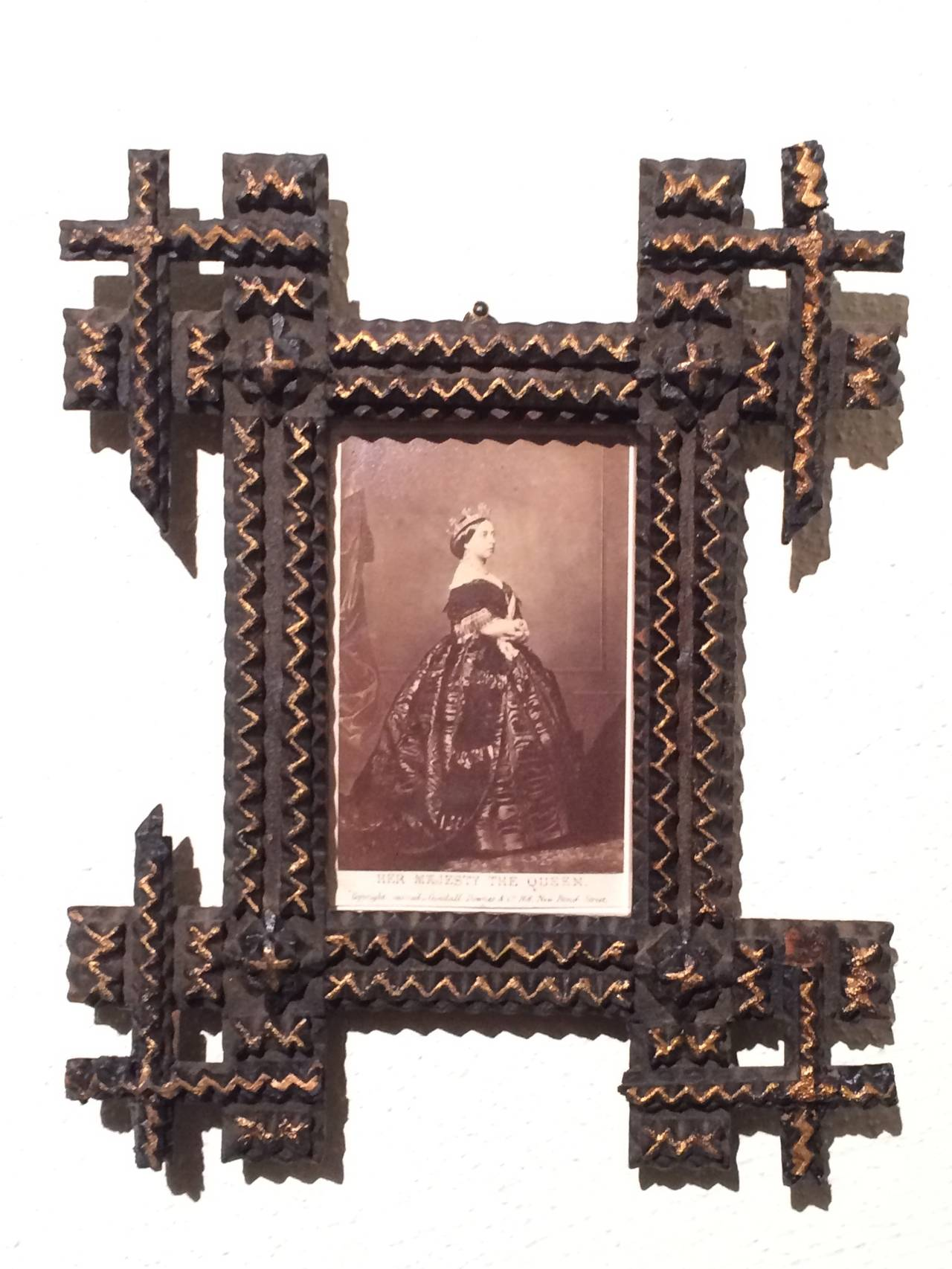 Pair of Tramp Art Frames with Sepia Photographs For Sale at 1stdibs