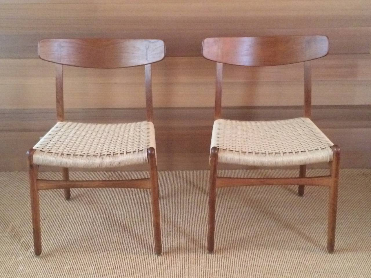Museum Quality Hans Wegner Chairs in Oak and Paper Cord, 1950 6