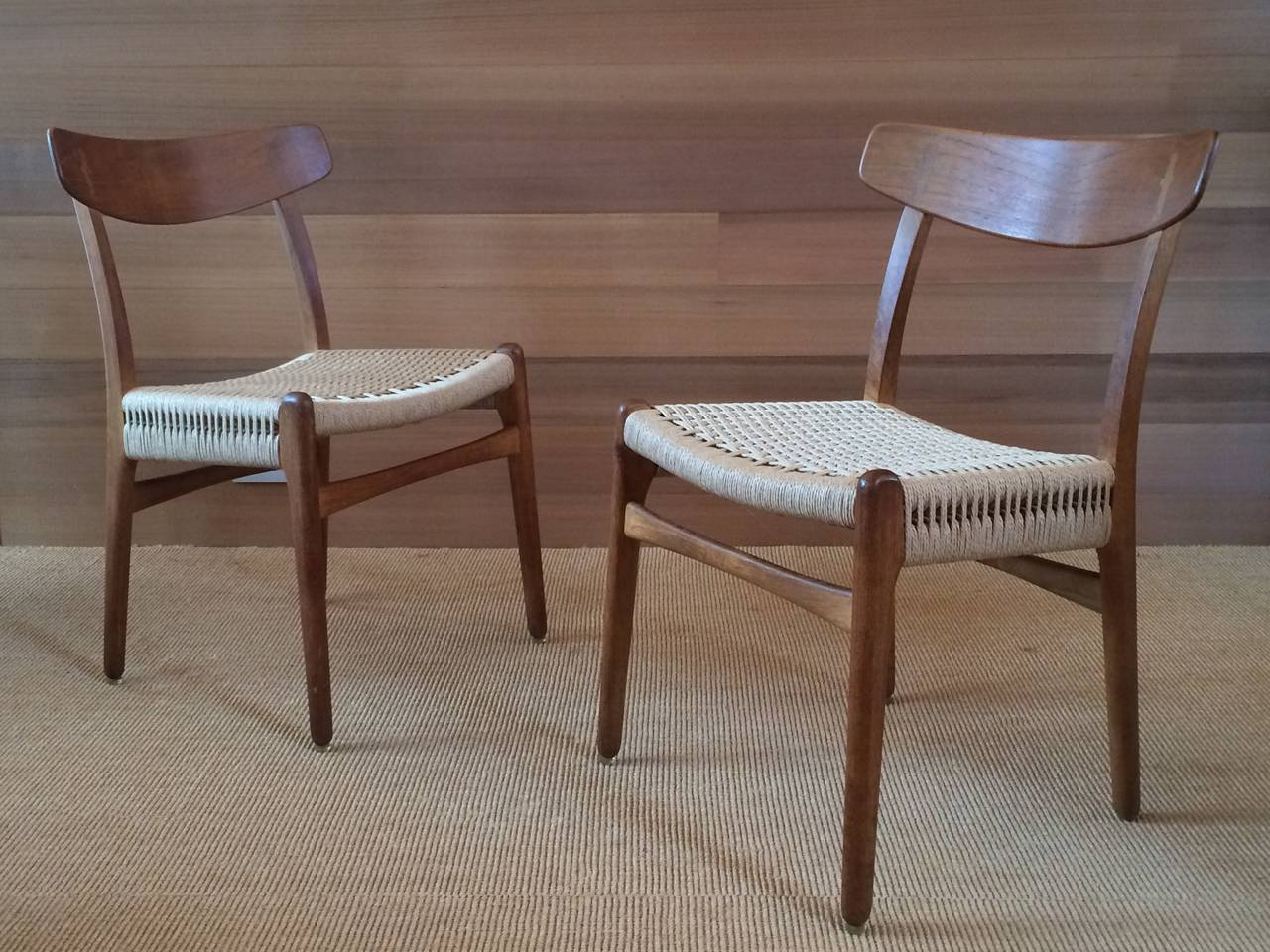 Museum Quality Hans Wegner Chairs in Oak and Paper Cord, 1950 2