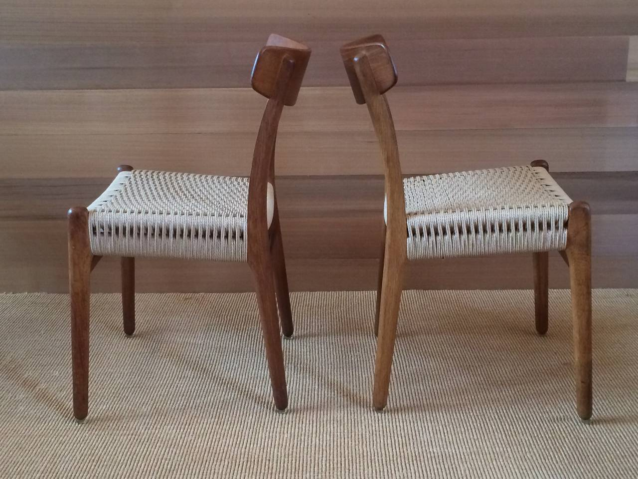 Museum Quality Hans Wegner Chairs in Oak and Paper Cord, 1950 5