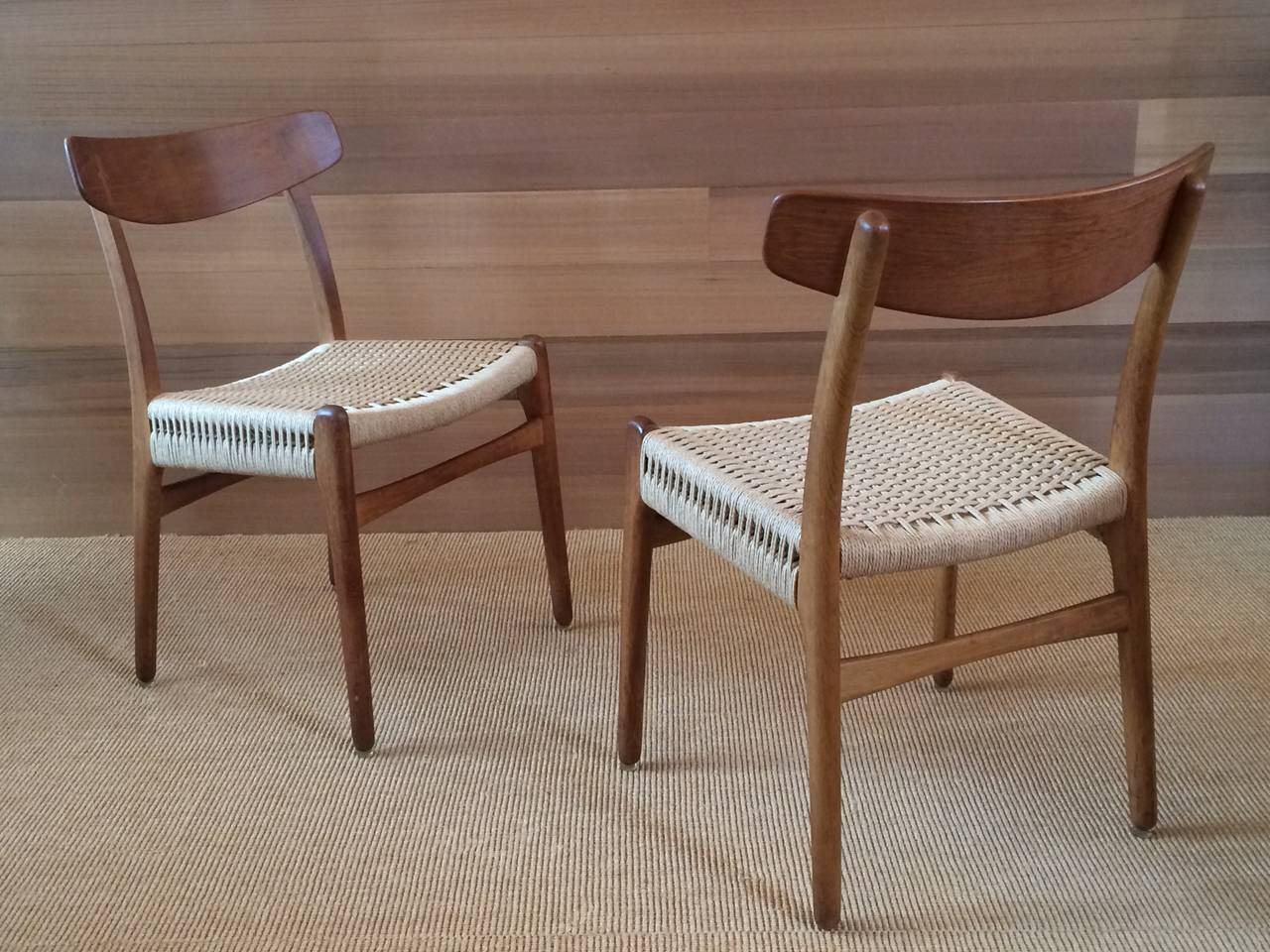 Danish Museum Quality Hans Wegner Chairs in Oak and Paper Cord, 1950 For Sale