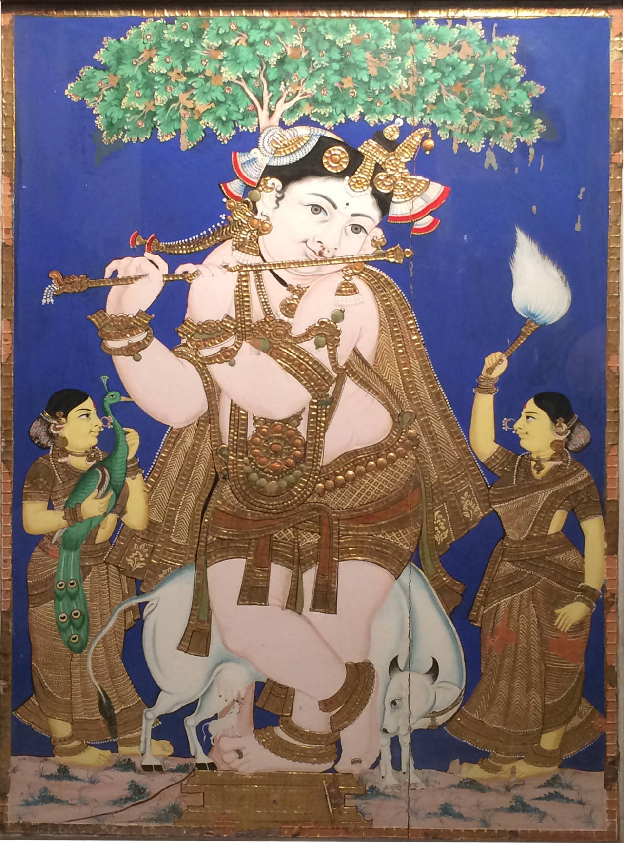 19th Century Indian Tanjore Painting Of Young Krishna At