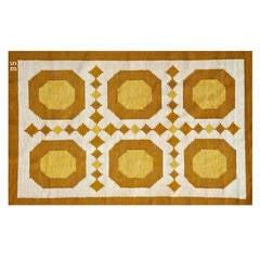 Rare Sigvard Bernadotte Flat-Weave Rug, Sweden, circa 1960