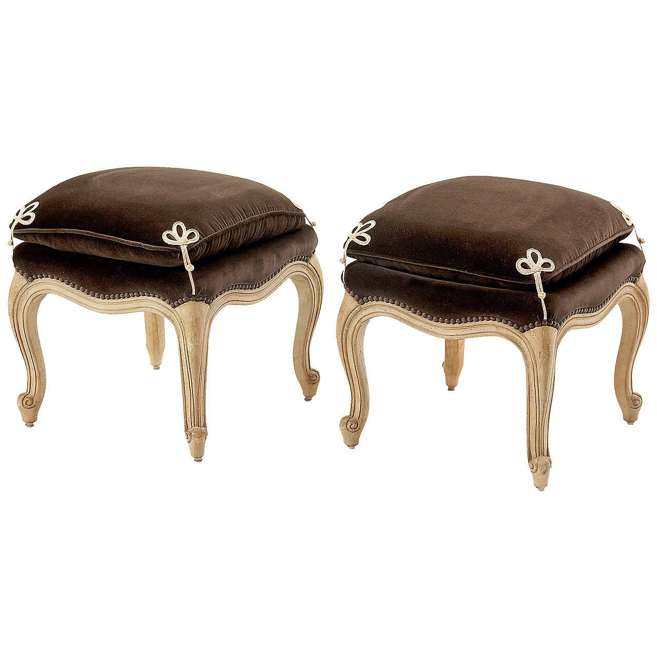 Pair Of French Louis Xv Style Stools At 1stdibs