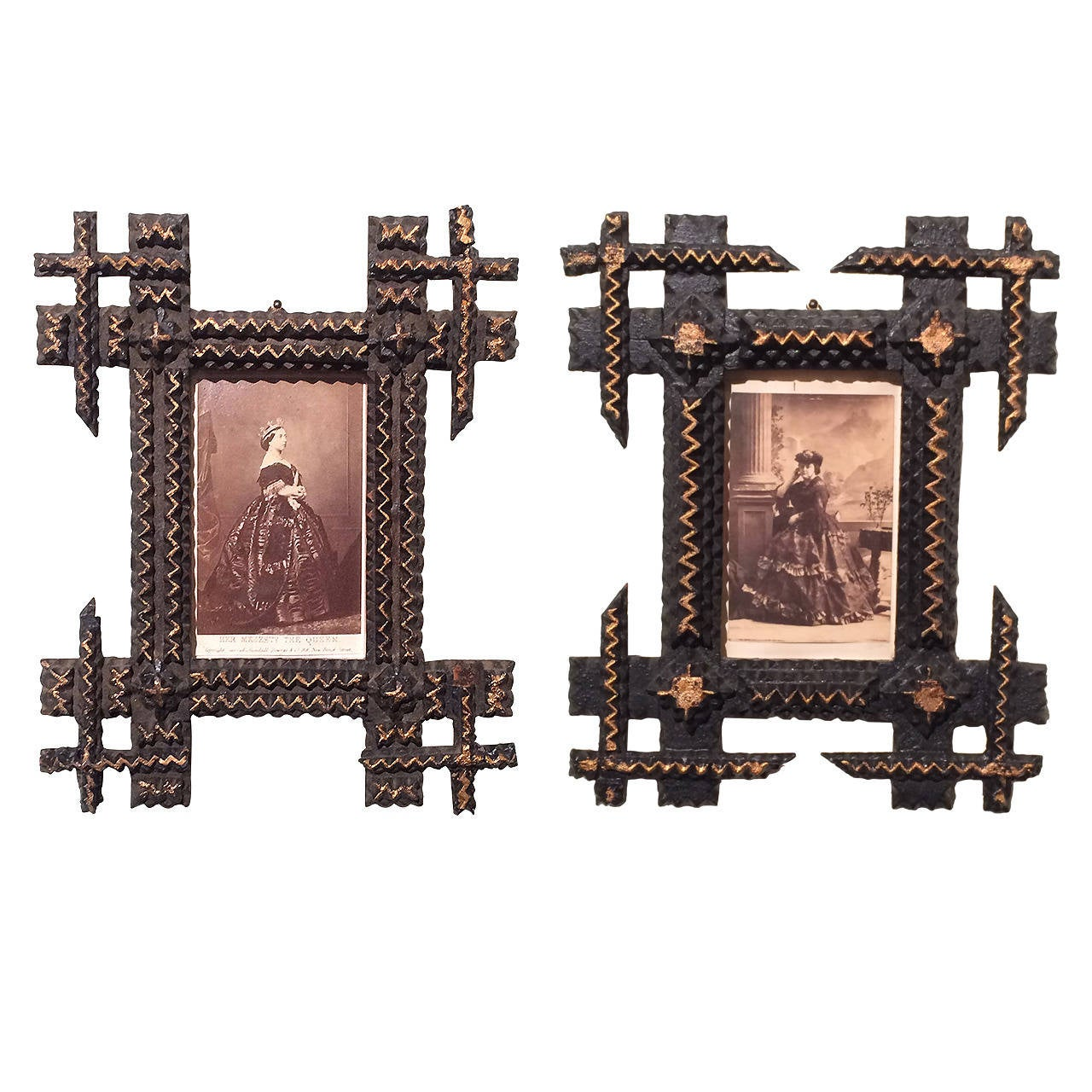 pair of tramp art frames with sepia photographs 1