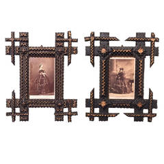 Pair of Tramp Art Frames with Sepia Photographs