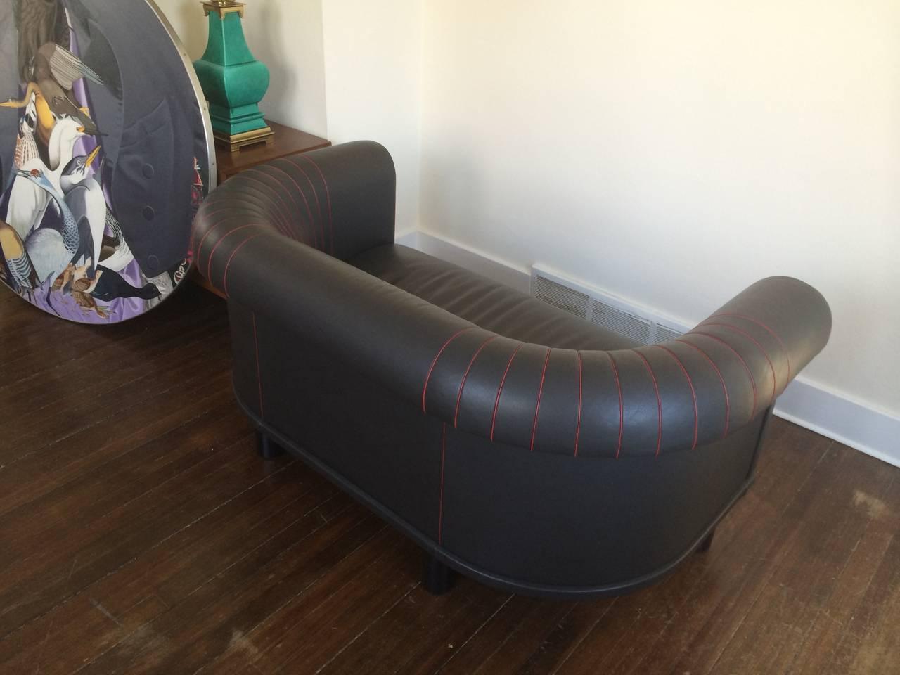 Barrel Back Leather Sofa Switzerland For Sale At 1stdibs