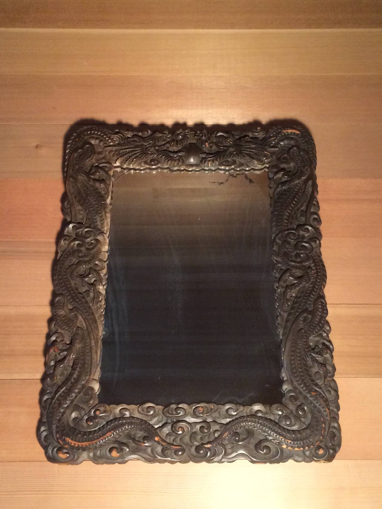 19th Century Quot China Trade Quot Carved Wood Dragon Mirror At