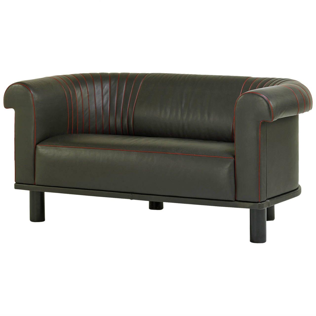 Barrel Back Leather Sofa, Switzerland For Sale at 1stdibs