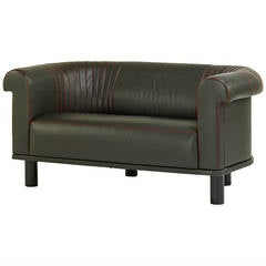 Unique Barrel Back Leather Sofa, Switzerland